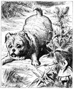 Figure 3, Tenniel, John. Alice and Puppy. Engraving. 1865. Retrieved from: http://www.alice-in-wonderland.net/alice2a.html