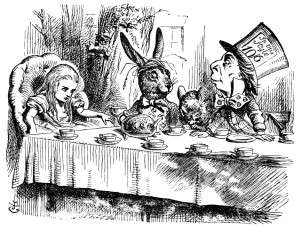 Figure 5, Tenniel, John. Alice with the March Hare, Hatter and Dormouse at the Mad Tea Party. Engraving. 1865. Retrieved from: http://www.alice-in-wonderland.net/alice2a.html