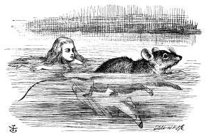 Figure 4, Tenniel, John. Alice and Mouse in Pool. Engraving. 1865. Retrieved from: http://www.alice-in-wonderland.net/alice2a.html